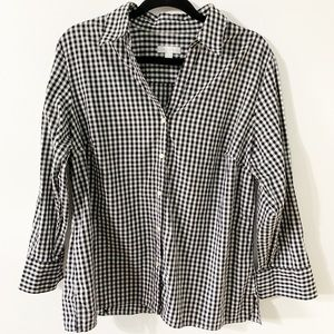 Charter Club Gingham Button Down-3/4 Length Sleeve